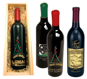 Custom label and etched wine bottles